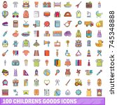 100 childrens goods icons set.... | Shutterstock .eps vector #745348888