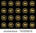 set of gold numbers from 41 to... | Shutterstock .eps vector #745350076