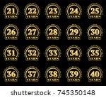 set of gold numbers from 21 to... | Shutterstock .eps vector #745350148