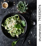 green spinach pasta with cheese ... | Shutterstock . vector #745352476