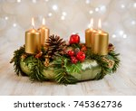 advent wreath with four burning ... | Shutterstock . vector #745362736