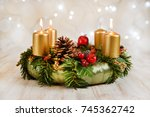 advent wreath with three... | Shutterstock . vector #745362742