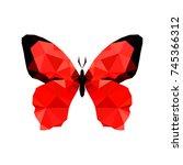 illustration of red origami... | Shutterstock . vector #745366312