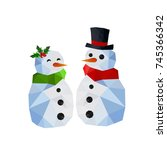 two funny snowman  man and woman | Shutterstock . vector #745366342