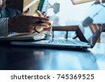 workplace of a business man ... | Shutterstock . vector #745369525