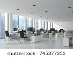 open space office interior with ... | Shutterstock . vector #745377352