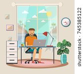 freelance man working at the... | Shutterstock .eps vector #745385122