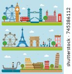 city sightseeing england france ... | Shutterstock .eps vector #745386112