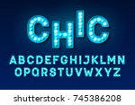 broadway style retro light bulb ... | Shutterstock .eps vector #745386208