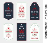 set of badges christmas sale... | Shutterstock .eps vector #745391788