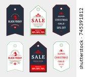 set of badges christmas sale... | Shutterstock .eps vector #745391812