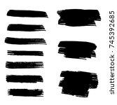 set of hand painted brush... | Shutterstock .eps vector #745392685
