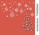 christmas tree. balls and... | Shutterstock .eps vector #745400662