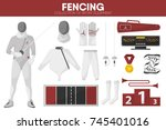 fencing sport equipment... | Shutterstock .eps vector #745401016