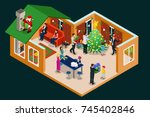 isometric christmas holiday... | Shutterstock .eps vector #745402846
