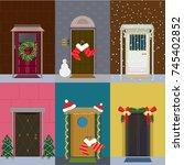 flat christmas entrance doors... | Shutterstock .eps vector #745402852