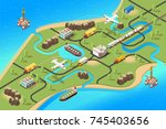 isometric global logistics... | Shutterstock .eps vector #745403656