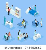 isometric medical preparation... | Shutterstock .eps vector #745403662