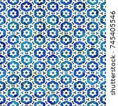 native batik watercolor... | Shutterstock . vector #745405546