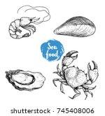Seafood Sketches Set. Fresh...