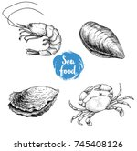 seafood sketches set. fresh... | Shutterstock .eps vector #745408126