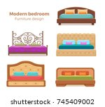 set of colorful beds with... | Shutterstock .eps vector #745409002