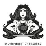 fortune teller woman reading...   Shutterstock . vector #745410562