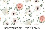 seamless pattern vector floral... | Shutterstock .eps vector #745412602