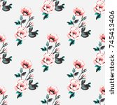 vintage traditional roses... | Shutterstock .eps vector #745413406