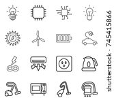 thin line icon set   bulb  chip ... | Shutterstock .eps vector #745415866