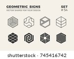 set of eight minimalistic... | Shutterstock .eps vector #745416742
