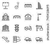 thin line icon set   billboard  ... | Shutterstock .eps vector #745418695