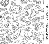 vector hand drawn seafood... | Shutterstock .eps vector #745420138