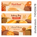 banner template food with bread ... | Shutterstock .eps vector #745420678