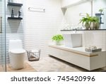 modern spacious bathroom with... | Shutterstock . vector #745420996