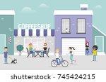 urban scene. cozy gentrified...   Shutterstock .eps vector #745424215