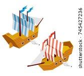 isometric low poly 3d vector... | Shutterstock .eps vector #745427236