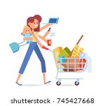 busy mom   mother with baby ... | Shutterstock .eps vector #745427668