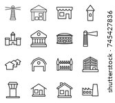 thin line icon set   lighthouse ... | Shutterstock .eps vector #745427836