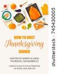 thanksgiving dinner card  ... | Shutterstock .eps vector #745430005