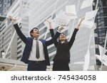 business people are throwing up ...   Shutterstock . vector #745434058