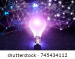 abstract glowing purple lamp... | Shutterstock . vector #745434112
