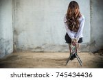 back view of a business woman... | Shutterstock . vector #745434436