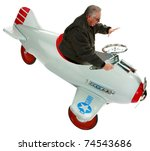a man in his pedal car airplane.  isolated on white with room for your text - stock photo