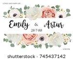 vector floral wedding...   Shutterstock .eps vector #745437142