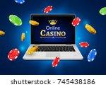 online casino banner concept... | Shutterstock .eps vector #745438186