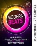 modern techno party music... | Shutterstock .eps vector #745438486