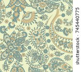 paisley ethnic seamless pattern ... | Shutterstock .eps vector #745440775