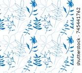 floral vector seamless pattern ...   Shutterstock .eps vector #745441762
