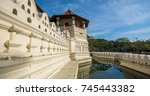 moat at temple of the sacred... | Shutterstock . vector #745443382